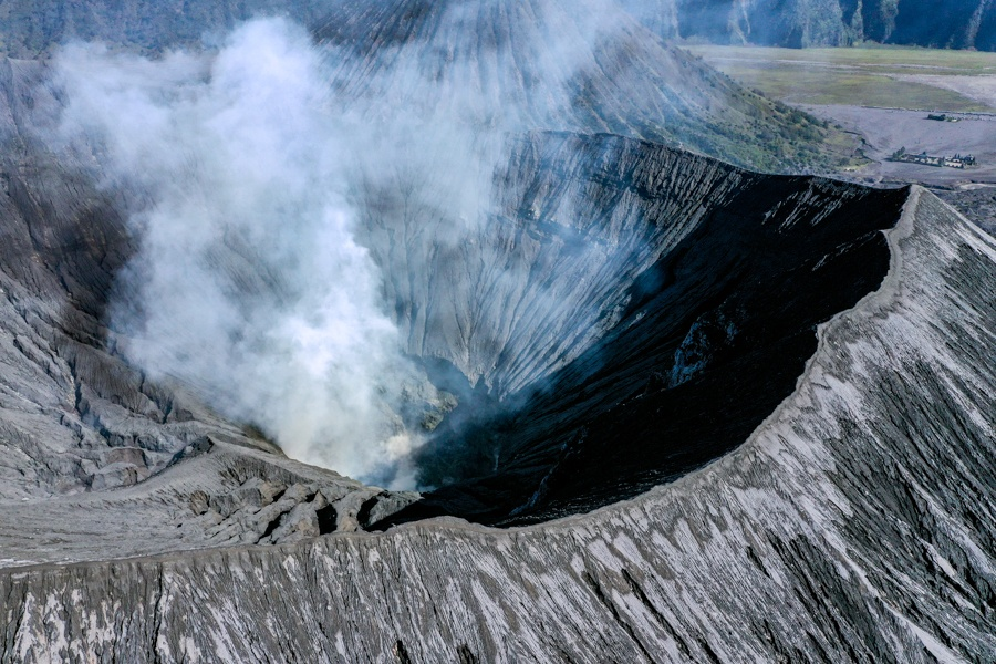 Mount Bromo Crater Drone